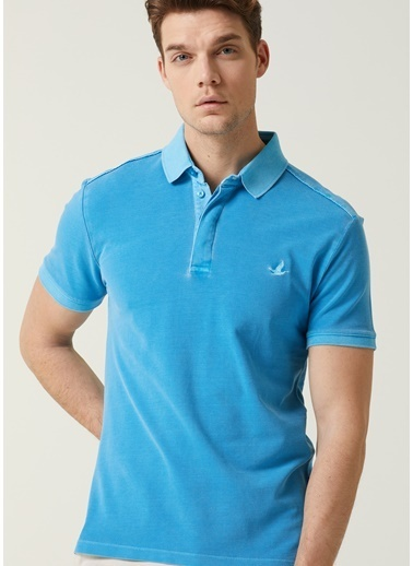 Beymen Club Beymen Club 101596389 Pamuk Polo Yaka Kısa Kol Logo Baskılı Slim Fit  Erkek T-Shirt Mavi